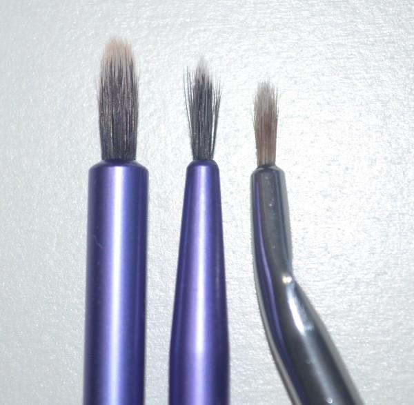 Left: RT Pixel Point Eyeliner Brush. Middle: RT Fine Liner Brush. Right: Models Prefer Angled Liner Brush.